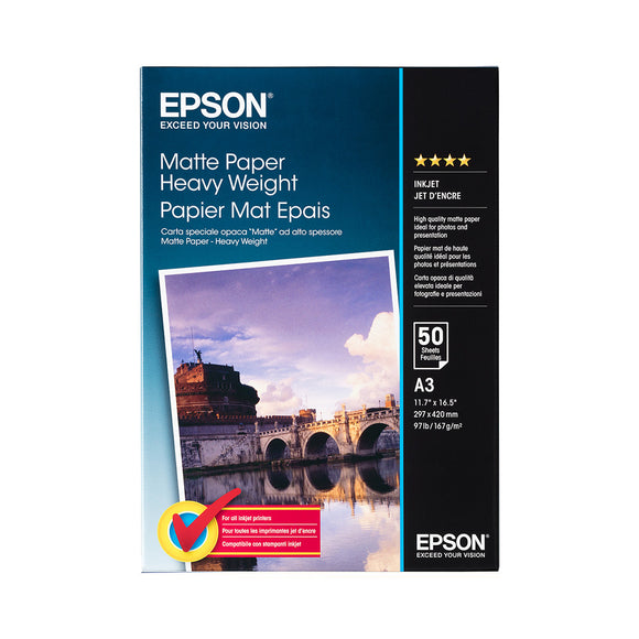 EPSON Matte Paper Heavyweight - A3 (50 Sheets) European packaging
