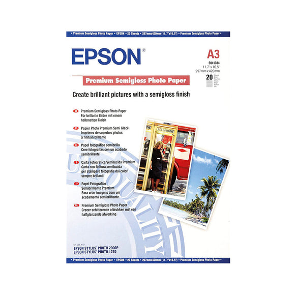 EPSON Premium Semigloss Photo Paper (A3 / 20 Sheets)