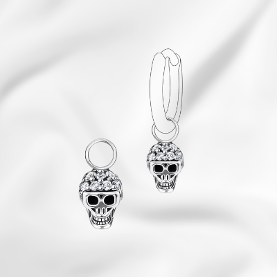 skull charm sterling silver and black cz for sale