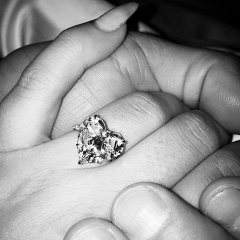 American artist Lady Gaga famously received this huge 6 Carat heart-shaped engagement ring by Lorraine Schwartz from Taylor Kinney in 2015.