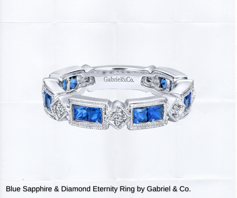 classic vintage inspired wedding band with blue sapphires and diamonds for sale ottawa wedding
