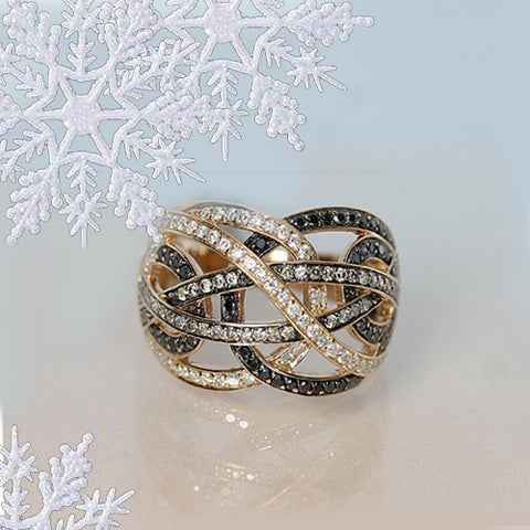 rose gold and black gold white diamond and black diamond statement ring for sale ottawa