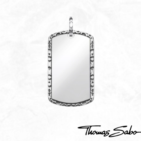 Thomas Sabo Sterling Silver Dog Tag Pendant Men's Jewelry Grad Gifts for Him 2021 Engravable Jewellery