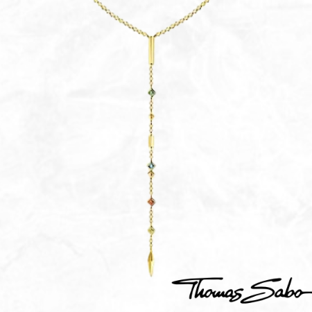 Thomas Sabo 18k Yellow Gold Plated Multi-Colour Stone Y-Necklace Bohemian Beaded Necklace for Sale Canada