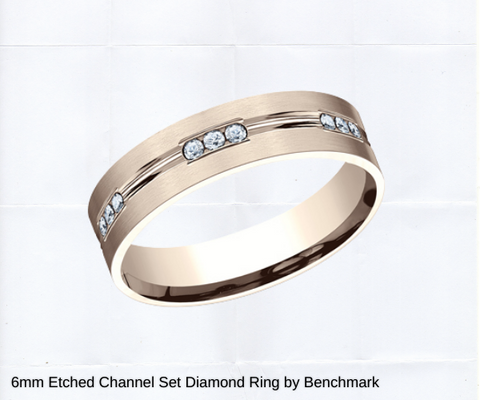 6mm etched wedding band in rose gold white gold or yellow ring ottawa