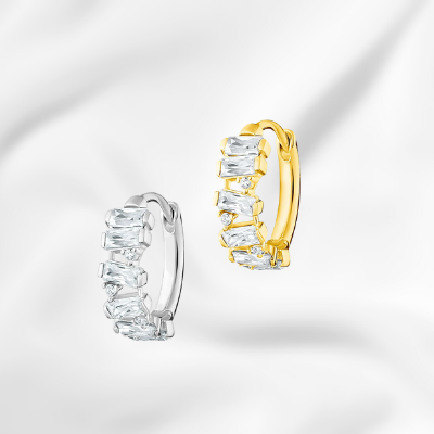 yellow gold and white gold diamond simulant cz hoop for sale ottawa ontario canada jeweler