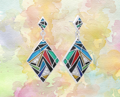 artistic geometric enamel earrings ottawA
