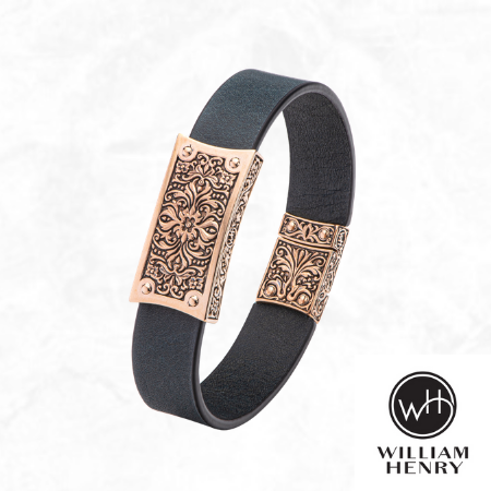 William Henry 'Venice' Sterling Silver Bronze & Leather Masculine Bracelet Men's Jewelry for sale free shipping Canada