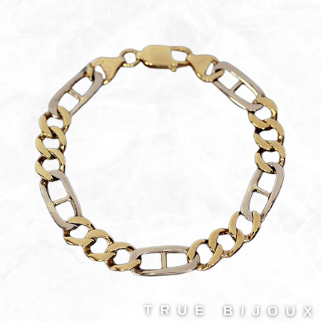 Estate 10k Yellow/White Gold Chunky Figaro Link Bracelet Vintage Jewelry for Sale Canada