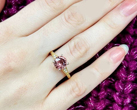peach spinel engagement ring with colored gemstones for sale ottawa custom