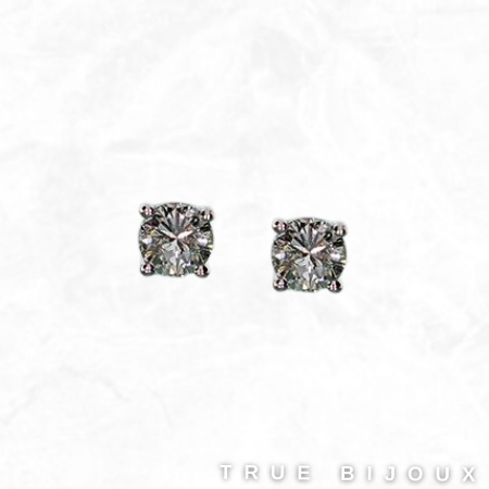 Estate 14k White Gold 0.36ct Diamond Stud Earrings Vintage Jewelry for sale montreal Canada
