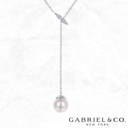 Gabriel & Co. White Gold Y Knot Pearl And Diamond Necklace for sale free shipping Grad gifts 2021
