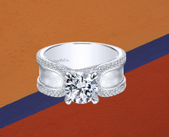 wide diamond ring round cut diamond