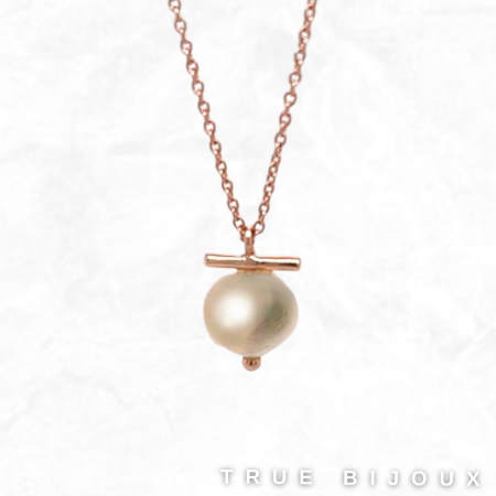 Petit Bijoux Rose Gold Plated Sterling Silver T-Bar Pearl Pendant Necklace Ottawa Toronto Vancouver Business