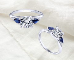 three stone ring sapphire wedding ring engaged ottawa