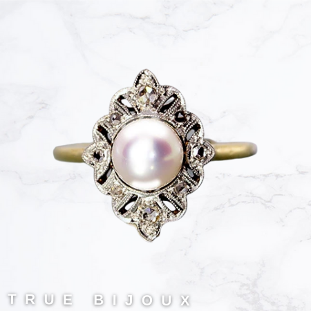 vintage pearls antique-style pearl ring for sale ottawa estate small business jewellery online