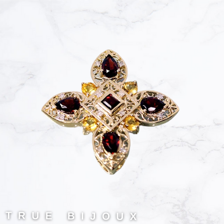 vintage ruby and citrine yellow gold unique pendant necklace jewelry for sale ottawa business