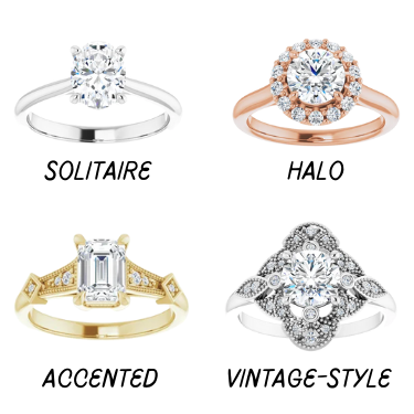 types of wedding rings, solitaire, halo, accented diamonds, vintage style engagement ring ottawa custom jeweller