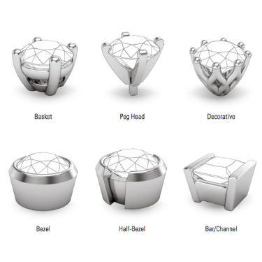 types of diamond or gemstone settings in a custom engagement ring or jewelry piece ottawa canada gatineau montreal toronto
