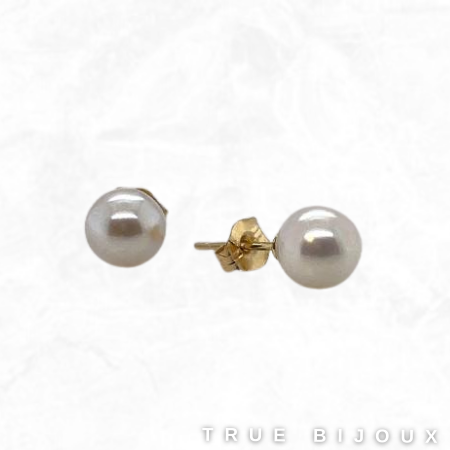 Akoya 6mm Cultured Pearl Stud Earrings 14k Yellow Gold for sale Ottawa Canada Gift Ideas Guide 2021