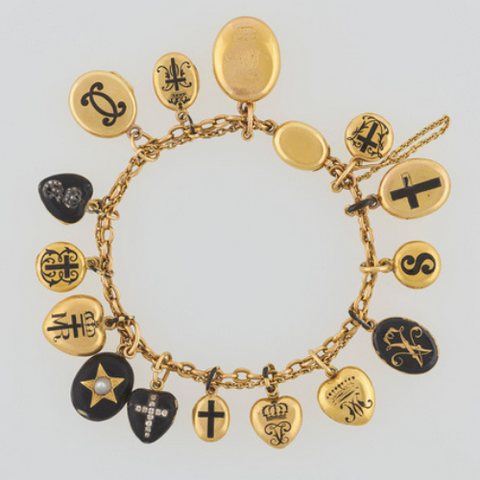 Queen Victoria's gold & enamel charm bracelet, Image via Royal Trust Collection