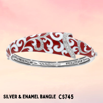 enamel and fine silver bangle jewelry design Mother's Day Ottawa