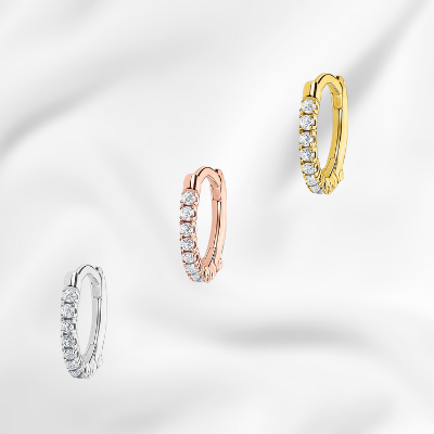 cz rose gold hoops yellow gold clickers sterling silver huggies