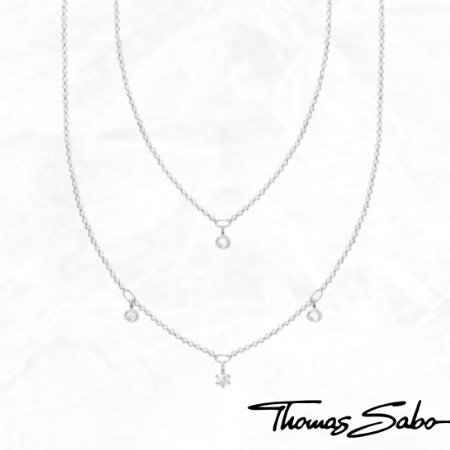 Thomas Sabo Sterling Silver And CZ Double Layered Necklace 925 Jewellery Dainty Free Shipping