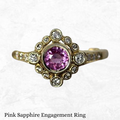14k Yellow Gold Vintage Inspired 0.56ct Pink Sapphire Halo Diamond Engagement Ring