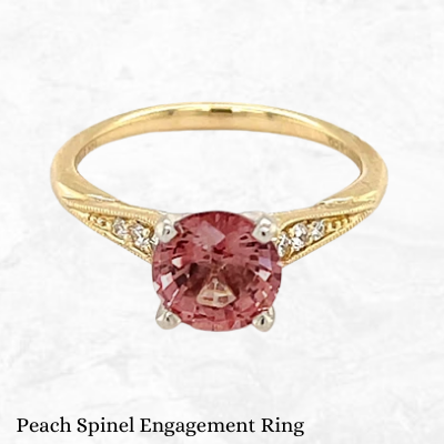 Gabriel And Co Peach Spinel & Diamond Engagement Ring toronto montreal ottawa vancouver wedding dealer