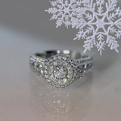 diamond ring with double halo white gold engagement wedding ring for sale