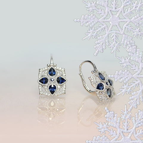 sapphire and diamond elegant white gold earrings perfect christmas gift Ottawa