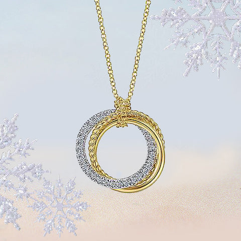 yellow gold diamond trio necklace for sale ottawa