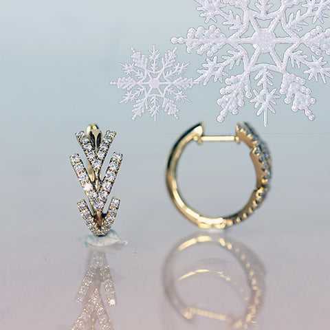 diamond hoops in yellow gold clickers