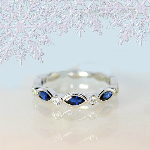 sapphire and marquise cut diamond delicate stacking ring for sale ottawa