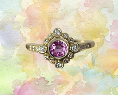 pink sapphire with gold and diamond engagement wedding ring