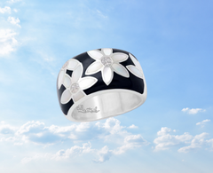 enamel and mother of pearl contemporary ring
