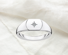 signet ring sterling silver with diamond and starburst