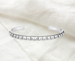 studded cuff bangle sterling silver simple and minimal