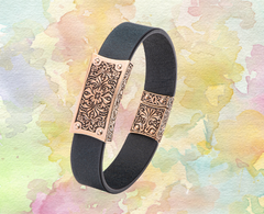 rose gold and leather filigree bracelet