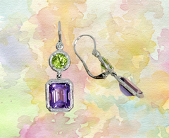 peridot and amethyst dangle earrings in white gold, Ottawa