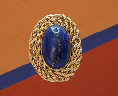 giant lapis and rope chain brooch vintage jewelry for sale Canada