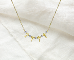 diamond and gold fringe necklace