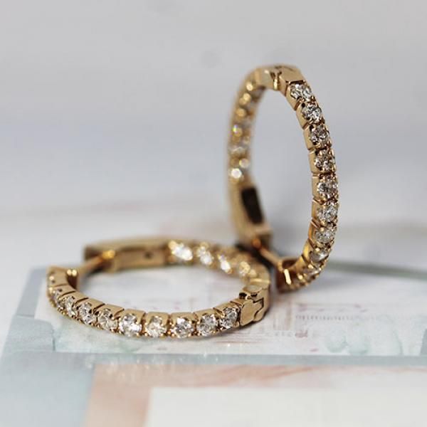14k rose gold, hoop earrings, diamonds, 1.00 total carat weight