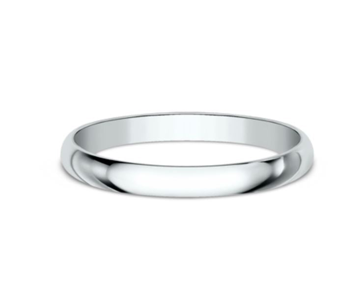2mm 14k White Gold Classic Mens Ring