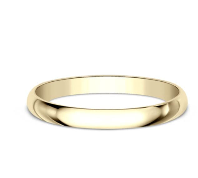 2mm 14 karat yellow gold classic ring with a high polish finish