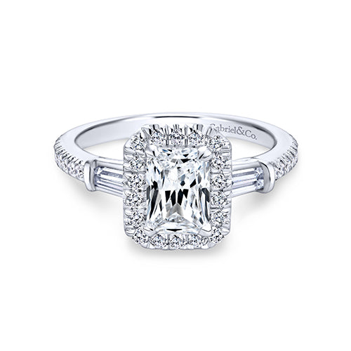 Gabriel & Co. 14K White Gold Emerald Cut Halo Diamond Vintage Syle Engagement Ring