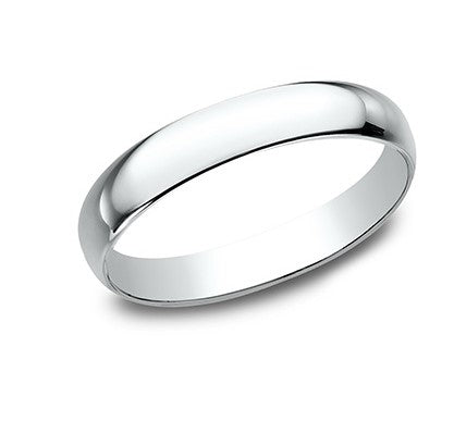 4mm 18 karat white gold classic ring with a high polish finish