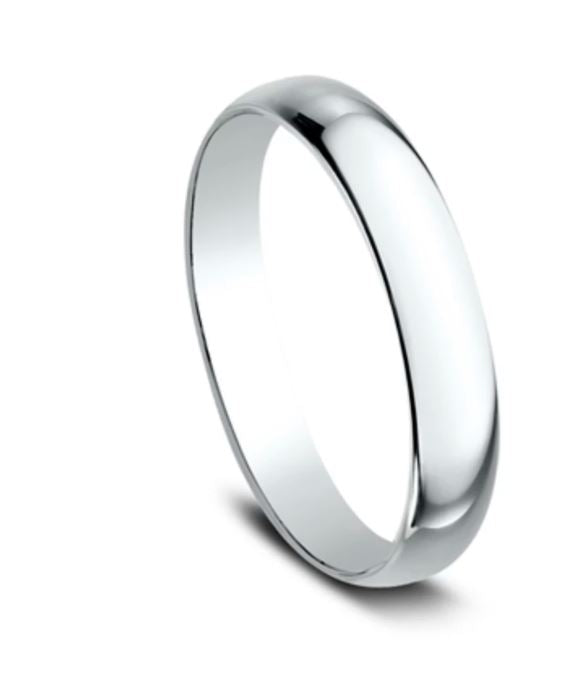3mm 18 karat white gold classic ring with a high polish finish