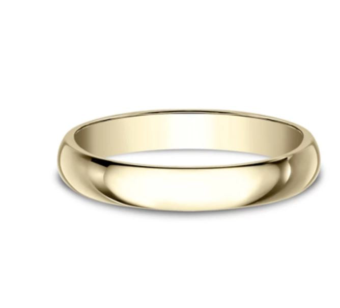 3mm 10 karat yellow gold classic ring with a high polish finish